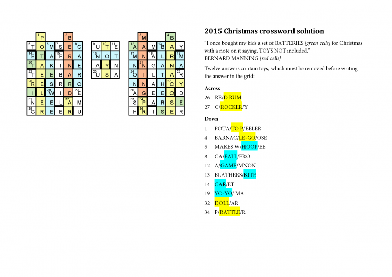 2015xmascard_solution - Christmas Crossword Answers